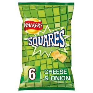 Walkers Squares Cheese and Onion Snacks 6x22g - Sold Worldwide From UK