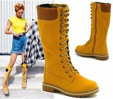 Unbranded Women's Knee High Boots Synthetic Leather Lace Up Shoes