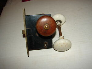 ANTIQUE VINTAGE DOOR MORTISE LOCK SET WHITE PORCELAIN KNOBS & Wood Knobs Key