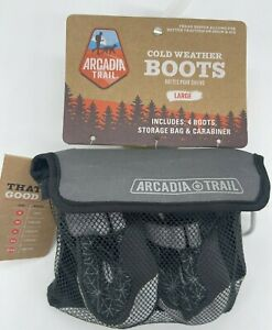 Arcadia Trail Cold Weather Dog Boots Size Large Gray 4 Winter Booties & Bag