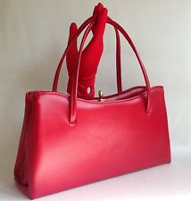 Red 1960s Faux Leather Vintage Handbag Fabric Lining Elbief Frame Mad Men - A010