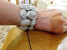 Brand new chunky Silver bracelet with large silver crystal encrusted stones +bag