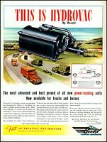 1945 Trucks highway traffic Bendix hydrovac brakes vintage art Print Ad adL15