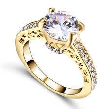 Women's White Sapphire Zircon Wedding Band Ring 18K Yellow Gold Filled Size 7