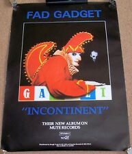 "FAD GADGET STUNNING U.K. RECORD COMPANY PROMO POSTER ""INCONTINENT"" ALBUM 1981"