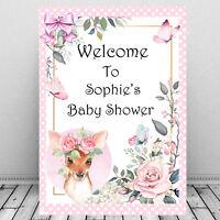 Personalised Baby Shower Welcome Sign Print/Mum To Be Keepsake/Cute Baby Deer