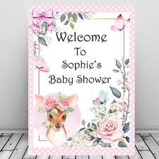 Personalised Baby Shower Welcome Sign Print/Mum To Be Keepsake/Cute Baby Deer