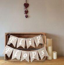 ❤️ Hessian Flip Flops Bunting Banner Dancing Shoes Wedding Party Vintage Burlap