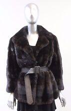 Dark Mahogany Horizontal Mink With Leather Belt  Fur Jacket Size S-M