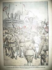 DEBARQUEMENT 1er CONTINGENT AMERICAIN PORT FRANCE LA DOMENICA DEL CORRIERE 1917