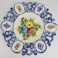 Vintage RCCL Made In Portugal MCM Hand Painted Porcelain Dish ART Floral 13 In