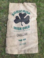 Vintage de Hesse de pommes de terre Sacs x5-Shamrock Irlandais GOLD!!! Jute, petit sac en jute