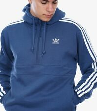 New Adidas Men's Originals 3-Stripes Hoddie Hooded Half Zip Sweatshirt Blue L