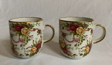 Royal Albert Old Country Roses Ruby Celebration Classic Collection Mugs Set of 2