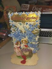 Vintage GERMAN POP-UP (Pull-Down) Boy & Girl With Doves In background