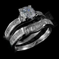 18K White Gold Wedding Engagement Band Set CZ Silver Womens Ladies Wedding Ring
