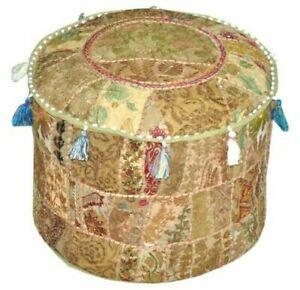 Indian Mandala Pouf Ottoman Round Ottoman Cover Pouffe Foot Stool Cover Decor