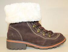 WOOLRICH Women's Boots Sz 7 Brown Suede Lace up Ankle W/Side Zipper & Faux Fur