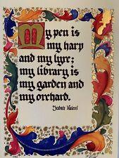 Medieval Style Illuminated Manuscript - Judah Halevi quote - 23k Gold Leaf