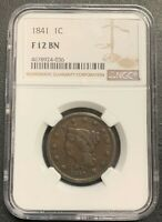 1841 U.S. BRAIDED HAIR LARGE CENT ~ NGC GRADED F12! $2.95 MAX SHIPPING!