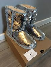 BNIB Genuine Ugg boots Pink / Silver Reversible Sequins Size UK 6