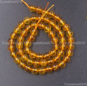 "Natural Crystal Quartz Rock Gemstone Round Beads 4mm 6mm 8mm Yellow Citrine 16"""