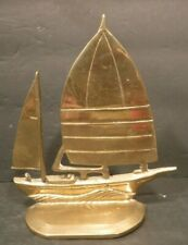 Vintage Collectible Brass Sail Boat Shelf Decor Sailing Water Lake Ocean Wind