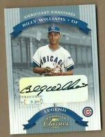 2002 Donruss Classics autographed baseball card Billy Williams, Chicago Cubs