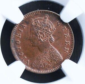 British India 1/12 Anna 1876-C KM# 465 NGC Graded MS-63 BN Rare