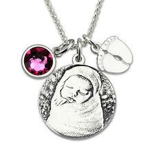Anhänger Kette Baby Bild Namen Gravur Monatsstein Geschenk Geburt Taufe SILBER