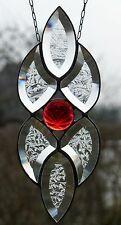 Bleiverglasung Facetten- Fensterbild in Tiffany mit Jugendstil- Relief rote Rose