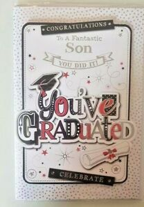 GRADUATION CARD FOR YOUR SON EXAMS UNIVERSITY WELL DONE GRADUATE 23 X 15 CM