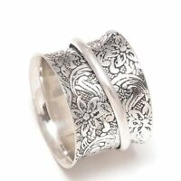 Solid 925 Sterling Silver Spinner Ring Meditation ring statement ring Size aa255