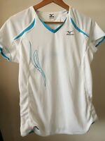 Mizuno Size L 16 White Blue Polyester Activewear Top <T10619