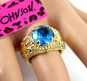 New Betsey Johnson Large blue Stone Gold Colour Princess Lady's Ring Size 6
