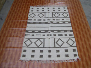 3x5 ft. Flat weave small Oriental Rug Beige Color Oriental Kilim Rug Hand Woven
