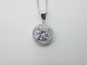 Solid Sterling Silver 925 Round Circle Clear Stone Pendant Necklace Curb Chain