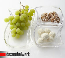 Leonardo 3er Set Twisty Schale für Snacks Dippschale Glas Deko Servierschale