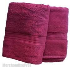 TWO EILEEN WEST CLASSICS 100% COTTON 'PORTOLA' BURGUNDY BATH TOWELS NEW!