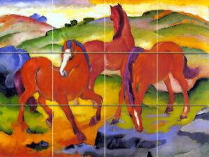 16 x 12 Art Franz Marc Red Horses Tumbled Marble Mural Backsplash Bath Tile #75