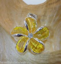 24mm Hawaiian Solid Sterling Silver Yellow Faceted Crystal Plumeria CZ Pendant
