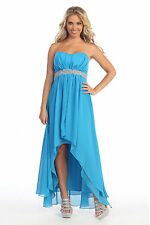 Long/Short Formal Occasion Bridesmaid Dress Party Evening Chiffon Turquoise 12