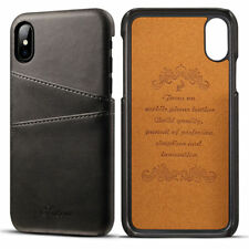 Card Slot Holder Skin Leather Case Phone Back Cover For Apple iPhone X / XS 5.8""