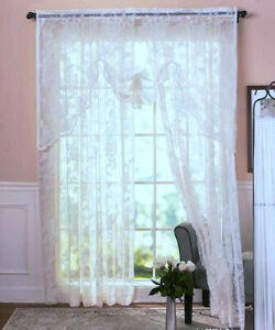 """WHITE Abbey Rose Vintage Lace Curtain 63"""" Window Panel or Swag"""