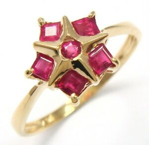 SYJEWELLERY PRETTY STAR SOLID 9CT YELLOW GOLD NATURAL RUBY RING SIZE N R1184