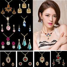 Luxury Colorful Necklace+Earrings Bridal Wedding Jewelry Set Crystal Gem Pendant