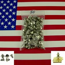 50 Chrome Deluxe Tie Tack Ball Top Pin Backs Clasp Locking Secure Fastener