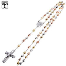 """6 mm Bead Rosary G / S / RG Plated Guadalupe Jesus Cross 28"""" Necklace HR 600 SRG"""