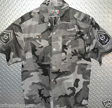 12555/ REGAL MILITARY CAMO COMBAT FORCE SHIRT ~ Patches Badges Medals NWT ~3XL