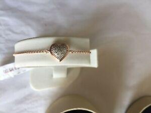 Links of London Heart Diamond Essentials Vermeil Pave Heart Bracelet Rose Gold/